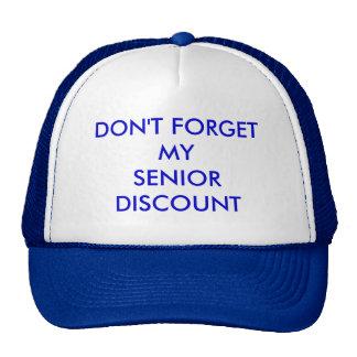 CAP, BLUE, DON'T FORGETMYSENIORDISCOUNT MESH HATS