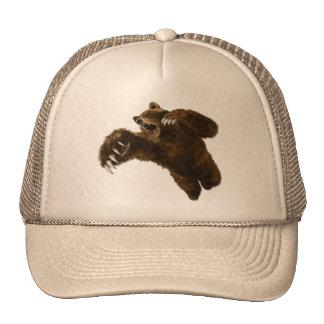 cap brown bear in anger trucker hats