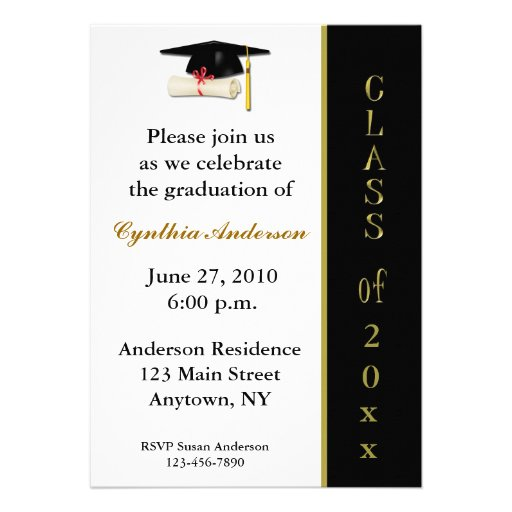 Cap Diploma Black Gold Graduation Invitation 5 X 7