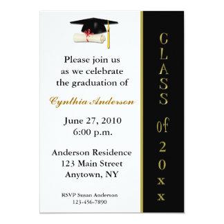 Cap Diploma Black Gold Graduation Invitation