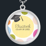 """Cap &amp; Dots Graduation Round Silver Plated Necklace<br><div class=""""desc"""">If you would like this design in a different color or size,  just email me at zazzlenicegradstuff@gmail.com. I will be happy to customize it for you.   The gradient block is moveable and you can change the font style,  color or size by clicking on the &quot;Customize It&quot;  button.</div>"""
