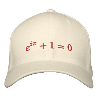 Cap: Euler's identity embroidered, large, red Embroidered Baseball Hat
