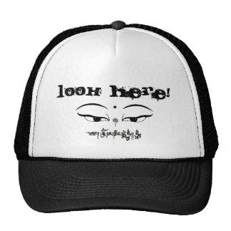cap, eyes of buddha, look here trucker hat