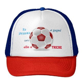 cap foot cheating trucker hat