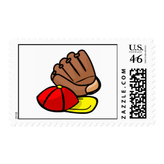 Cap Glove Postage Stamp