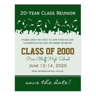 Cap & Gown Class Reunion Save-the-Date Postcard