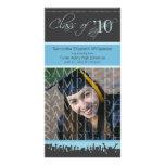 Cap & Gown Graduation Photo Announcement (blue) Photo Card Template