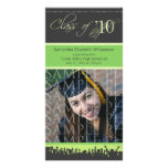 Cap & Gown Graduation Photo Announcement (green) Photo Cards