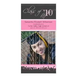 Cap & Gown Graduation Photo Announcement (pink) Photo Card