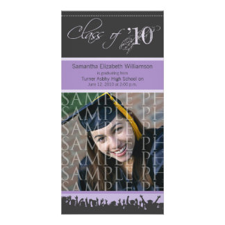 Cap & Gown Graduation Photo Announcement (purple) Photo Card