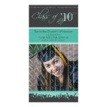 Cap & Gown Graduation Photo Announcement (teal) Custom Photo Card