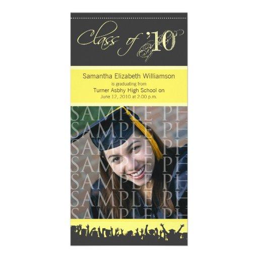 Cap & Gown Graduation Photo Announcement (yellow) Custom Photo Card