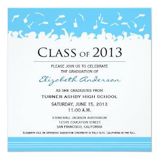 """Cap & Gown Square Graduation Announcement (aqua) 5.25"""" Square Invitation Card"""