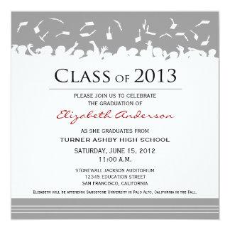 "Cap & Gown Square Graduation Announcement (grey) 5.25"" Square Invitation Card"