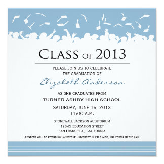 "Cap & Gown Square Graduation Announcement (sky) 5.25"" Square Invitation Card"