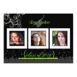 "Cap + Gown + Swirls Graduation Invitation /Photos 5"" X 7"" Invitation Card"