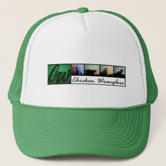 Cap-Green ball cap with ChickenWranglers banner.