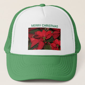 Cap, green, Marry Christmas, poinsettia Trucker Hat