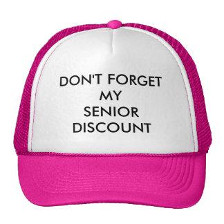 CAP, PINK, SENIOR DISCOUNT TRUCKER HAT
