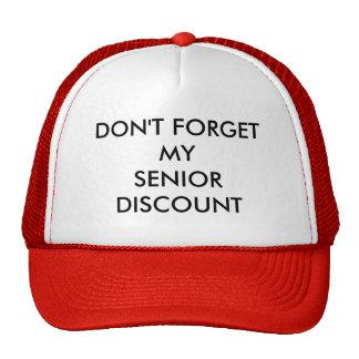 CAP, RED, SENIOR DISCOUNT HAT