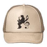 cap saxophoneplayer silhouette (G-key) Mesh Pet