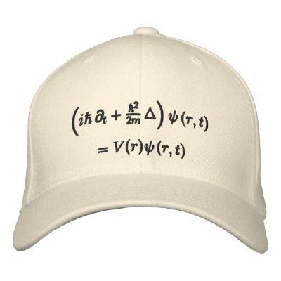 Cap, Schrodinger wave equation, black thread Embroidered Hat $ 22.95