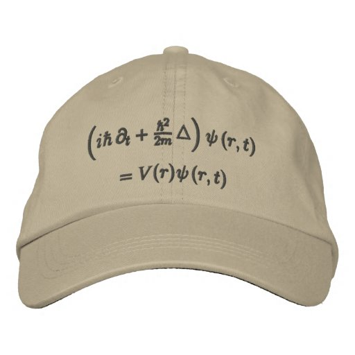 Cap, Schrodinger wave equation, charcoal thread Embroidered Baseball Hat