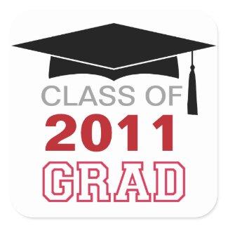 Cap & tassel red class year graduation gift tag sticker
