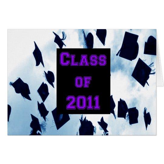 Cap Toss Class of 2011 Grad Purple Thank You Note Card