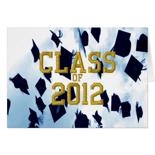 Cap Toss Gold Class of 2012 Grad Notecard