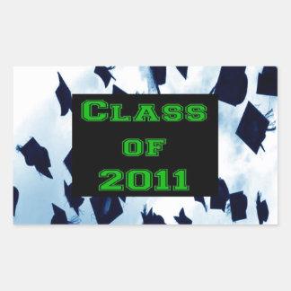 Cap Toss Grad Class of 2011 Green Sticker Seal