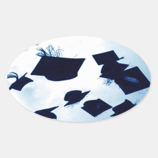 Cap Toss Graduation Oval Sticker
