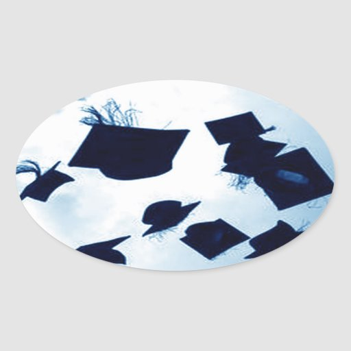 Cap Toss Graduation Oval Stickers
