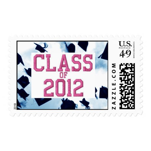 Cap Toss Pink Class of 2012 Grad Stamp