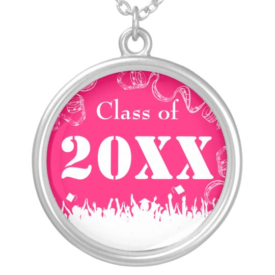 Cap Tossing Crowd Graduation Class of Choose Color Silver Plated Necklace