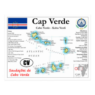 Cap Verde Map Postcard