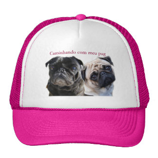 cap walking with mine pug trucker hat