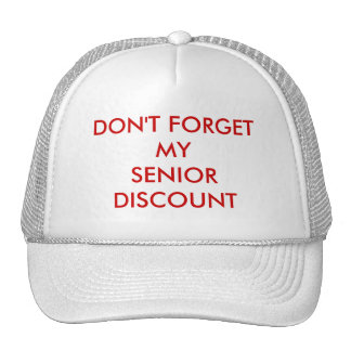 CAP, WHITE, SENIOR DISCOUNT TRUCKER HAT