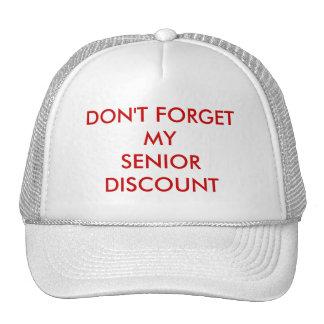 CAP, WHITE, SENIOR DISCOUNT MESH HAT