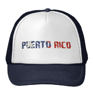 Cap with Dirty Puerto Rican Flag Text Trucker Hat