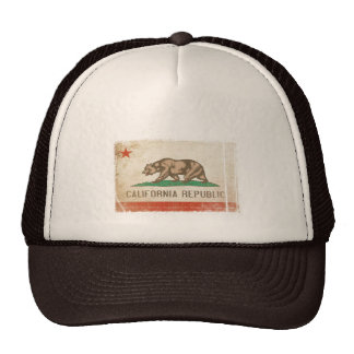 Cap with Distressed Flag from California Trucker Hat