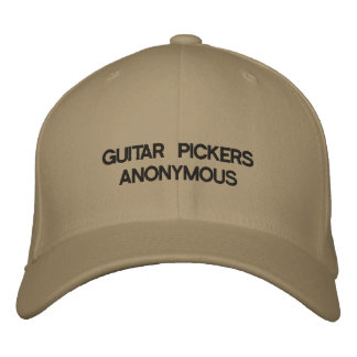 Cap with GUITAR PICKERS ANONYMOUS on it.