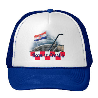 cap with text: discover Croatia Trucker Hat