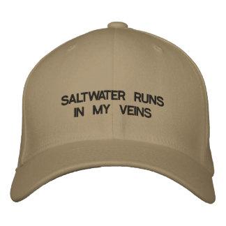 Cap with words SALTWATER RUNS THROUGH MY VEINS