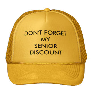 CAP, YELLOW, SENIOR DISCOUNT TRUCKER HAT