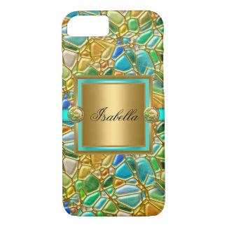 Capa azul del oro de la aguamarina del trullo funda iPhone 7