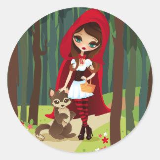 Capa con capucha del rojo de Velusa Pegatinas Redondas