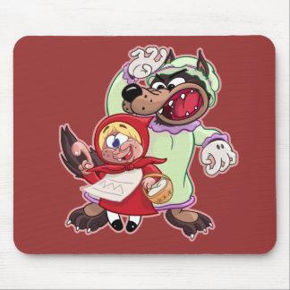 Capa con capucha del rojo del dibujo animado tapete de ratón