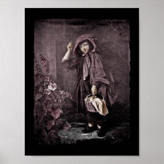 Capa con capucha en el Doorstop de las abuelas Póster