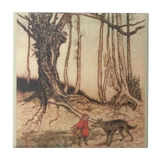 Capa con capucha roja asustadiza azulejo cuadrado pequeño